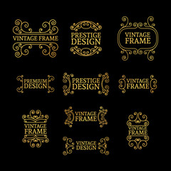 Vintage luxury logo template set with flourishes elegant lines. A set of signs, badges, frame, border, emblems with swirls. Vector