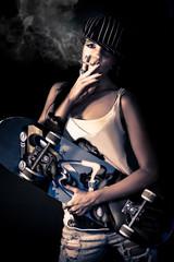 skater girl smoking a cigarette