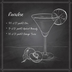 Paradise alcoholic cocktail on black board