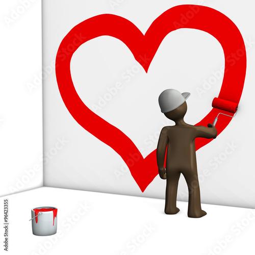 Maler Malt Ein Herz An Die Wand Braunes Männchen Auf Einem We