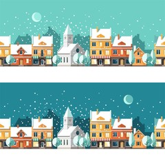 Winter town. Urban winter landscape. Cityscape. Vector illustration, flat style.