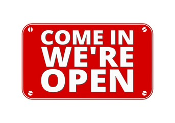 Come In We re Open - brass plate