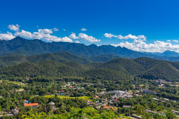 Viewpoint at  Wat Phra That Doi Gongmoo with view of Maehongson