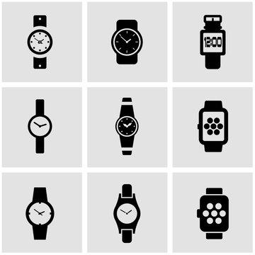 Vector black wristwatch icon set. Wristwatch Icon Object, Wristwatch Icon Picture, Wristwatch Icon Image - stock vector
