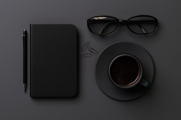 Black style concept with black blank diary cover, black cup of c