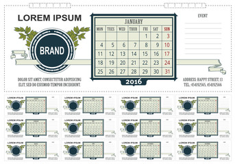 Template business desk calendar with space for notes. 2016. Week