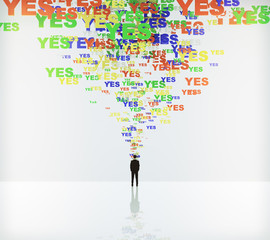 Say yes concept with yes words and businessman
