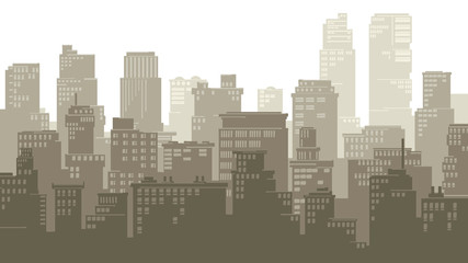 Horizontal illustration of cartoon big city.