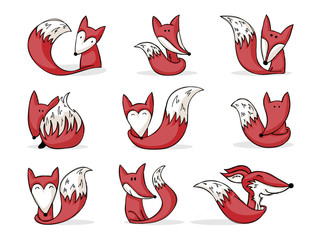 collection of cute cartoon foxes
