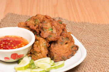 Fried fish patty, Thai style spicy fish ball.