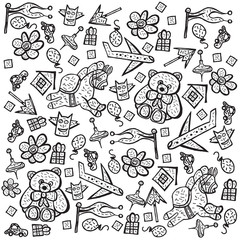 Child pattern with cute toy elements. Vector illustration.