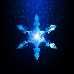Vector snowflake. Merry Christmas and Happy New Year design.