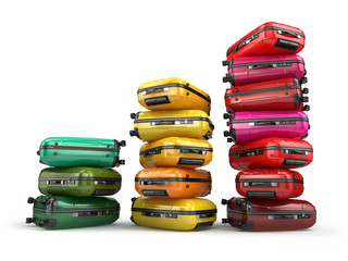 Heap of baggage.Travel or tourism development concept. Grouth of
