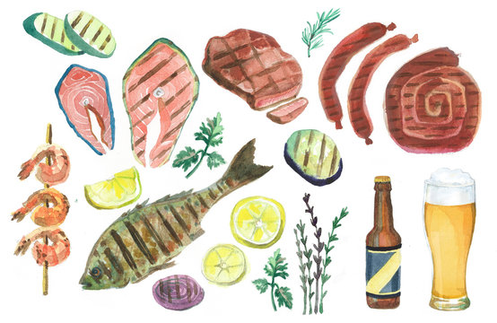 Set of watercolor illustrations. BBQ. Grill.