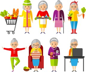 Set of vector Illustration a group of old woman in different situations.
