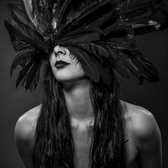 beautiful brunette woman with big black feathered mask