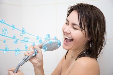 portrait of happy woman singing in shower