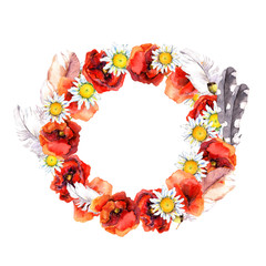 Floral elegant wreath with summer flowers poppies, camomile and feathers for beautiful card. Watercolor painting