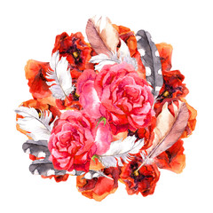 Floral hippie chic style - circle composition with vibrant flowers poppies, roses and feathers. Watercolor art
