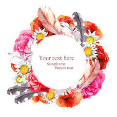 Floral pretty circle wreath with summer flowers poppies, camomile, rose and feathers for postcard. Watercolor art