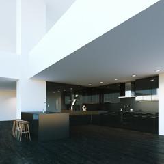 Black modern kitchen furniture in big interior. 3d render