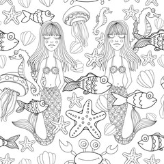 Vector doodle mermaids, sea life seamless pattern. Hand-drawn background.