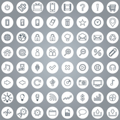 Large set of white elegant lineart web icons