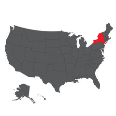 New York red map on USA black map vector