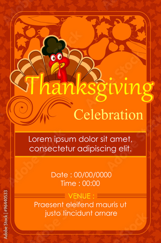 happy thanksgiving party invitation background stock image and