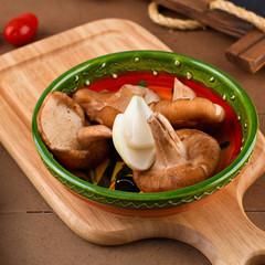 Shiitake mushroom on wooden table