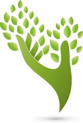 Hand und Blätter, Heilpraktiker, Logo