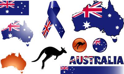Australia Icon Set. Vector graphic icons and images representing Australia.