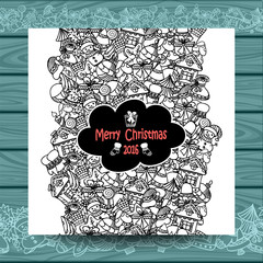 Christmas vertical doodle seamless border on white with blue wood