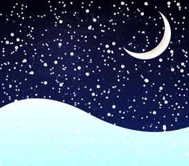 Snow at night crescent