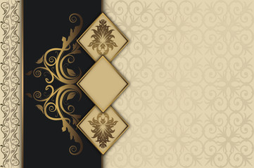 Wall Mural - Decorative vintage background with gold frames.