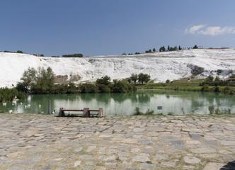 Natural travertine pools and terraces, cotton castle, Pamukkale, Turkey photo