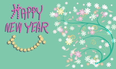 Greeting card for happy new year with pattern of flower