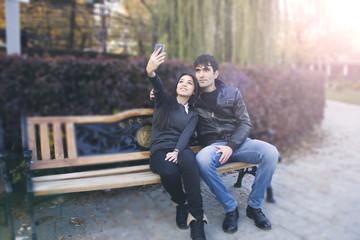 women and men selfie