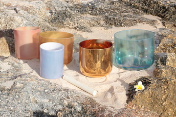 Crystal Singing Bowls on the beach