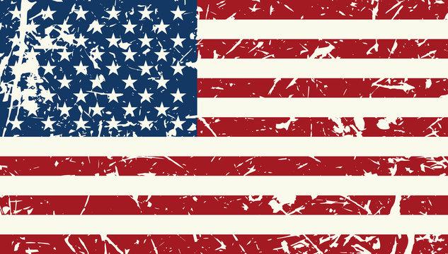American flag vintage textured background. Vector