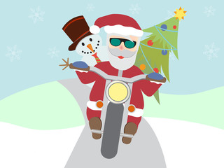 Retro santa claus on motorcycle with snowman and christmas tree flat