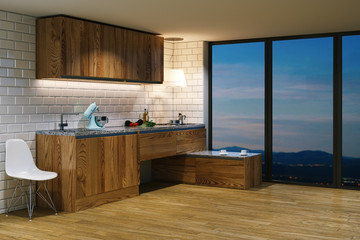 Wooden kitchen furniture in modern interior. Evening view