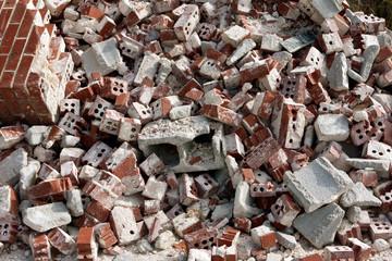 Huge Pile Of Discarded Broken Bricks At Demolition Site