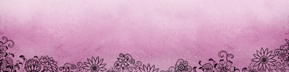 floral pink background with hand drawn flower borders and copyspace for header title, blank website banner with flower design