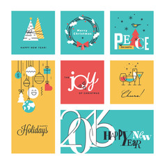 Christmas and New Year's collection. Flat line design vector illustrations for greeting cards, website banners and badges, gift tags and marketing material.