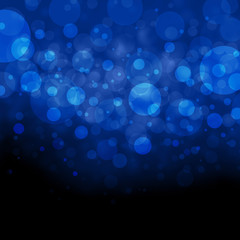 abstract black and blue background, white bokeh lights shine on top border, beautiful blue sky concept, floating bubbles or circles, blurred falling rain or snow design, Christmas background idea