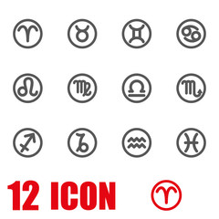 Vector grey zodiac symbols icon set. Zodiac Icon Object, Zodiac Icon Picture, Zodiac Icon Image - stock vector