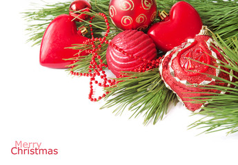 Merry Christmas and Happy New Year. Beautiful balls