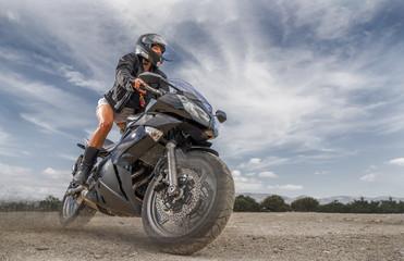 Sexy motorbike female rider