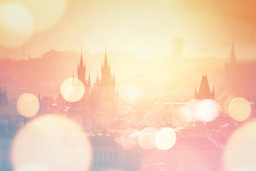Acrylic Prints Prague Prague cityscape on misty morning, Retro Toned